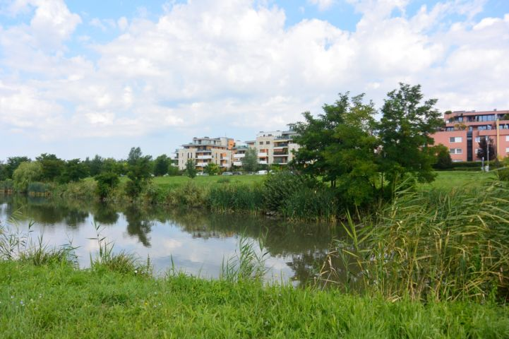 Kána-tó, háttérben az Újbuda-Tóváros Lakópark néhány épületével