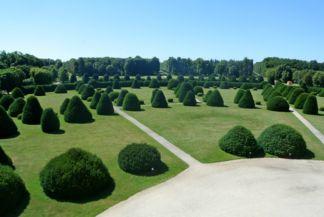 íves formájúra nyírt bokrok a kastély parter kertjében