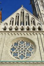Gothic rose window on the facade of the Matthias Church