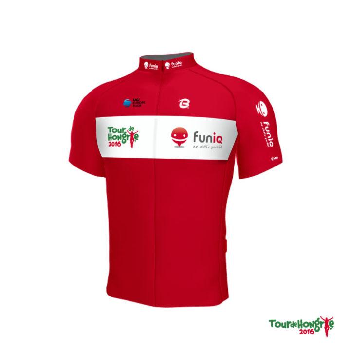a hegyi pontversenyben vezető versenyző PIROS trikójának funiQ logós mez terve