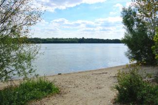 a földútról több helyen is letérhetünk balra, egyenesen a Duna partjára