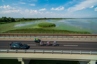 a 2016-os Tour de Hongrie mezőnye a Tisza-tónál