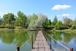 szép fahíd köti össze a Lóga-tó partját a kis szigettel