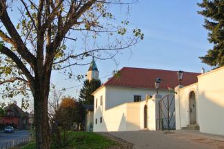 a Szily-Fáy kastély kapuja, háttérben a Biai református templom tornya látszik