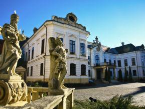 az Érseki palota a Szentháromság-szobrot díszítő néhány alakkal az előtérben