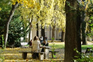 autumn in the garden of the Hungarian National Museum