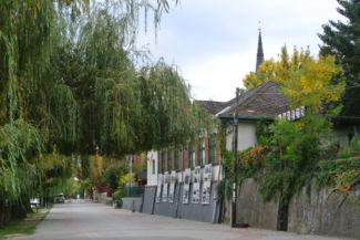 Szegedi Kis István sétány, háttérben látszik a református templom tornya