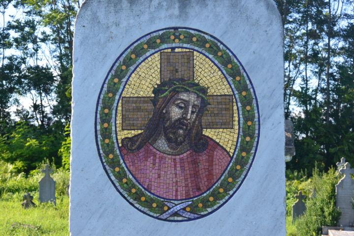 mozaikkép egy sírkövön