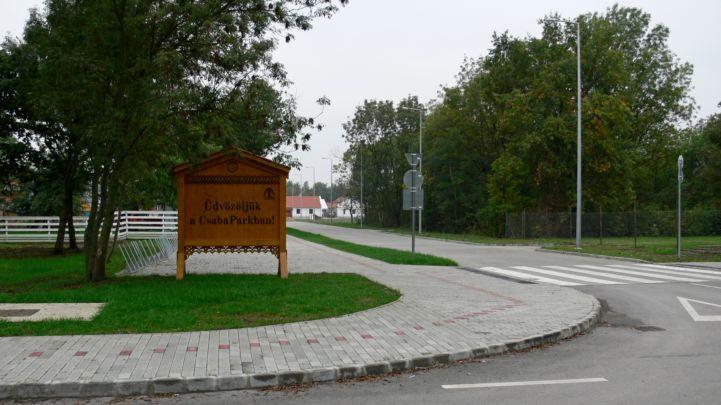 CsabaPark üdvözlőtáblája
