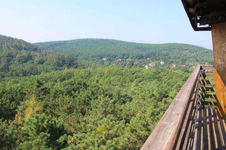 zöld hegyvonulatok és piros cserepes tetők váltják egymást a Sörházdombi kilátóból látott tájon