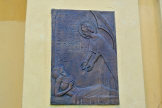 Saint Elisabeth relief on the wall of the Saints Peter and Paul Church