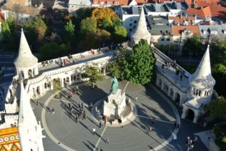 the Fisherman's Bastion seen from the tower of the Matthias Church