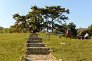 lépcsősor vezet fel a Római-forrástól a Szépkilátóhoz Balatongyörökön