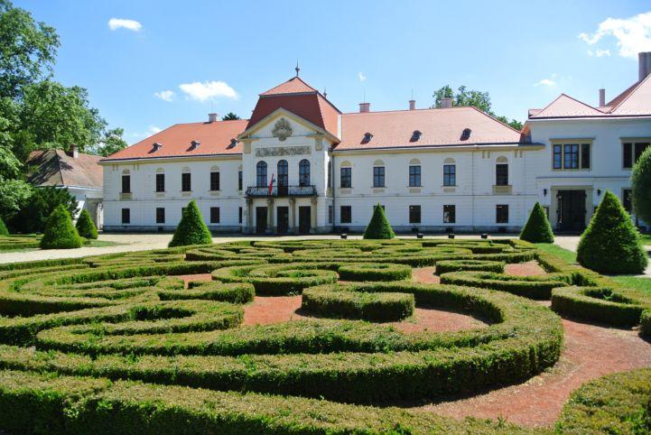 a Széchenyi-kastély előtt kacskaringós formába ültetett, szabályosra nyírt sövény között sétálhatunk