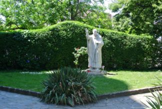 Statue of John Paul II in the garden of Saints Peter and Paul Church