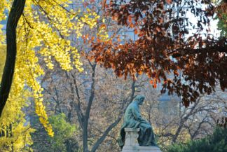 statue of János Arany in the garden of the Hungarian National Museum