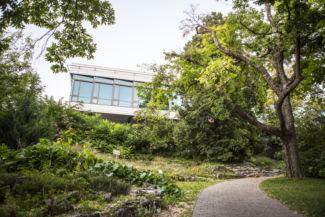 a Szent István Egyetem Entz Ferenc Könyvtára a Budai Arborétumból nézve