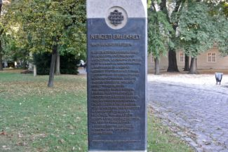 plaque in the garden of the Hungarian National Museum