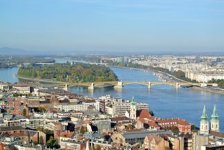 Margaret Island and Margaret Bridge seen from the tower of Matthias Church