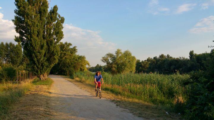 biciklizés a Kis-Duna partján. Még egy összecsukható biciklivel is jól lehet erre tekerni.