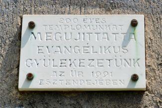 evangélikus templom - emléktábla